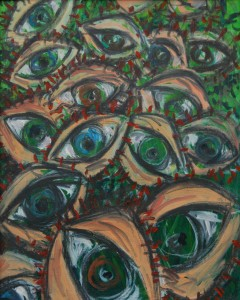 Cecil Riley, Eyes, 2008, oil on paper, © the artist