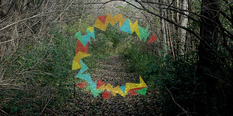 Artist's renderings of ocular arrays superimposed over various landscapes.