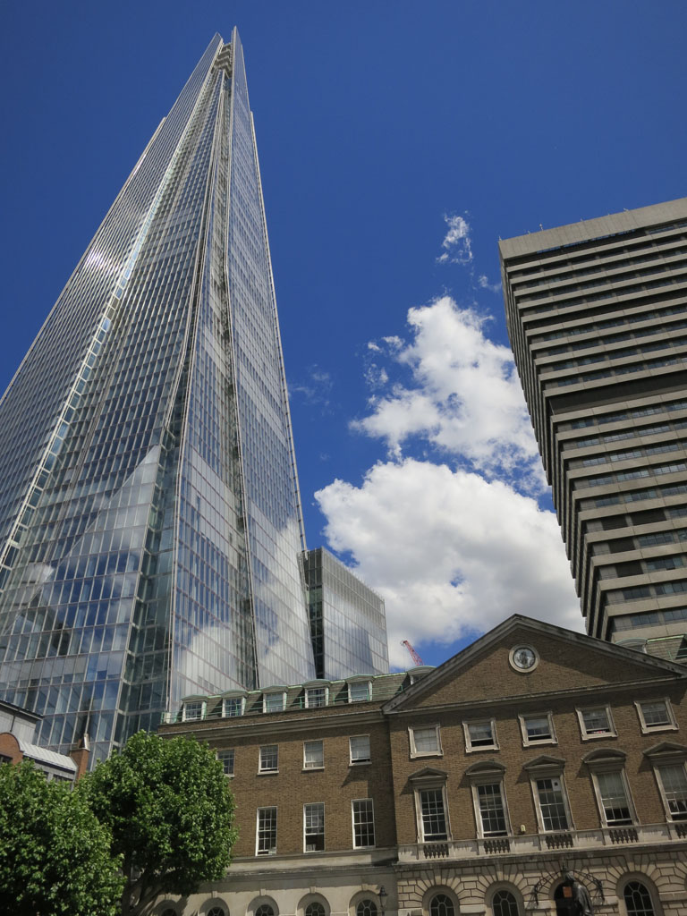 Boland House courtyard at the foot of The Shard and King's College Guy's Hospital Tower